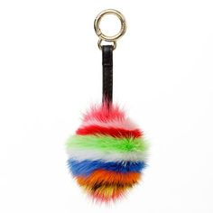 Multicolor pompom/charm for handbags/purses from Surell Accessories.