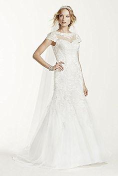 Jewel Lace Cap Sleeve Open Back Wedding Dress Style WG3736, Soft White, 14 David's Bridal http://www.amazon.com/dp/B00SL8CHWW/ref=cm_sw_r_pi_dp_lrbnwb1JWT8VF