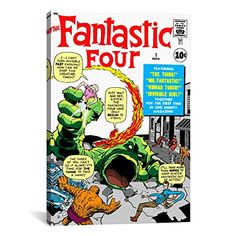 iCanvasART MRV12 Marvel Comic Book Fantastic Four Cover Issue Cover No1 by Marvel Comics Canvas Print 12 by 8Inch 075Inch Deep ** Click image for more details.Note:It is affiliate link to Amazon.