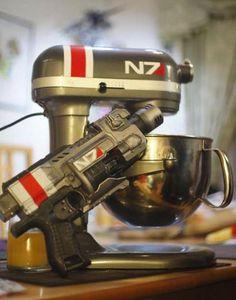 "derlaine: "" My boyfriend calibrated the KitchenAid Mixer and Nerf gun "" Mass Effect: custom KitchenAid mixer (via derlaine) Geeks, Take My Money, Kitchen Aid Mixer, Kitchen Ware, Geek Out, Mixers, How To Make Cookies, Mass Effect, Kitchen Gadgets"