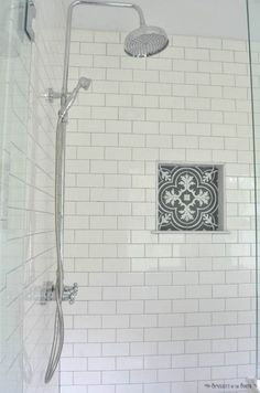 The Modern Farmhouse Master Bathroom Reveal: Turning a Bedroom into a Bathroom White subway tile is a classic. I love the charcoal gray grout and the patterned tile that looks like cement tile in the shower cubby Patterned Bathroom Tiles, Trendy Bathroom, Bathroom Remodel Master, Bathroom Renovations, Tile Remodel, Modern Farmhouse Bathroom, White Subway Tile, Farmhouse Shower, Bathroom Inspiration