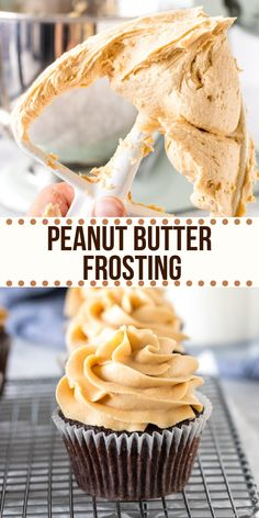 This peanut butter frosting is thick creamy & filled with peanut butter goodness. It's an easy buttercream recipe that's perfect for cupcakes brownies birthday cake or anything that goes with peanut butter! from Just So Tasty Peanut Butter Cake Filling, Peanut Butter Filled Cupcakes, Cake Filling Recipes, Peanut Butter Recipes, Cupcake Recipes, Cupcake Cakes, Dessert Recipes, Peanut Butter Cakes, Birthday Cake Cupcakes