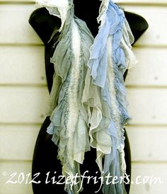Nuno Felt Scarf  Seaweed  White and Blue by lizetfrijters on Etsy, $70.00