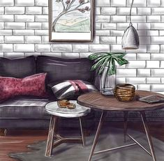 Artist: Kaminska Olga Interior Architecture Drawing, Interior Design Renderings, Drawing Interior, Interior Rendering, Interior Sketch, Home Interior Design, Architecture Design, Ipad Sketch, House Design Drawing