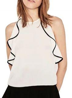 Women's Fashion Summer Sleeveless Flounce trim Pullover Blouse OASAP.com