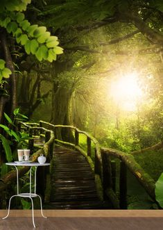 Step into your personal forest! With green wall murals you can easily conjure up such picturesque landscapes (in 30 minutes! that's how quick the installation is). Zen Wallpaper, 3d Wallpaper For Walls, Wallpaper Decor, Photo Wallpaper, Forest Room, Forest Decor, 3d Wall Murals, 3d Wall Panels, Beautiful Bedrooms