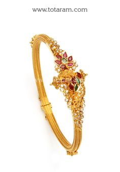 Check out the deal on 22K Gold 'Peacock' Uncut Diamond Kada with Ruby & Emerald - Single Piece at Totaram Jewelers: Buy Indian Gold jewelry & 18K Diamond jewelry