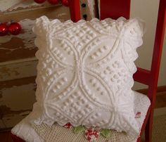 Snowy White Vintage Chenille PILLOW