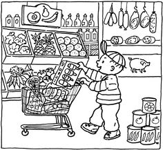 Kids coloring pages grocery store Coloring Pages: Kids coloring pages grocery store Coloring Pages For Kids, Coloring Sheets, Kids Coloring, Coloring Book, Shop Plans, Shop Logo, Drawing For Kids, Grocery Store, Printable Coloring
