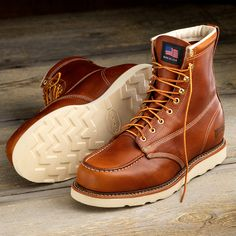 "8"" Contractor's Boots from Duluth Trading Company are USA-made of premium leather, with soft toe and a Vibram sole for sure-gripping traction."
