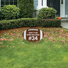 Show off your pride for your football star in your own front yard or personalize it for the school to put out before the big homecoming game, senior night or . Senior Football Gifts, Football Locker Signs, Football Locker Decorations, Football Homecoming, Homecoming Games, Senior Night Gifts, Football Crafts, Football Boys, Football Stuff