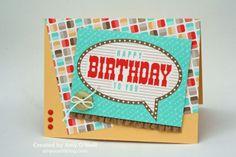 2014 Retro Birthday Stamps:   none (gasp!) Paper:  So Saffron, Retro Fresh dsp, Retro Fresh Designer Journaling Tags Embellishments:  Subtles Designer Buttons, White Baker's Twine, Brights Candy Dots, Baked Brown Sugar 3/8″ Ruffle Stretch Trim