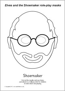 Elves and the Shoemaker role-play masks - black and white (SB2428) - SparkleBox