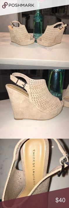 "Brand New Chinese Laundry Wedges Brand New Inventory! These are gorgeous suede laser cut designed Wedges. Height is 4"" Chinese Laundry Shoes Wedges"