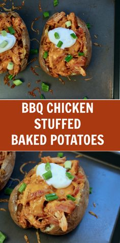 BBQ Chicken Stuffed Sweet Potatoes BBQ Chicken Stuffed Baked Potatoes bring together tender bites of chicken mixed with one fluffy baked potato for a simple weeknight meal. Bbq Baked Potatoes, Chicken Potato Bake, Stuffed Baked Potatoes, Baked Potato Recipes, Bbq Chicken, Chicken Recipes, Chicken Potatoes, Baked Chicken, Potato Meals