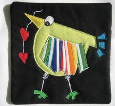 green bird mug rug