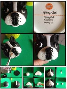 Dog cupcakes French Bulldog cupcake tutorial with step by step photos from beginning to end.