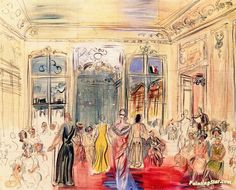 Salon Schiaparelli, Fashion Show, Place Vendome In Paris Artwork by Raoul Dufy Hand-painted and Art Prints on canvas for sale,you can custom the size and frame
