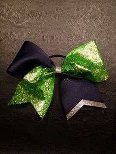 Glitter cheer bow 3 inch navy and neon green on Etsy, $9.00