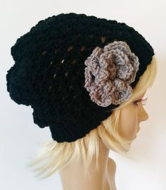 Crocheted women's slouchy beanie in black with by ChildCrochet, $15.00