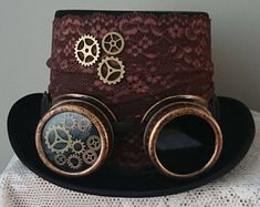 Steampunk Hat Lace Decoration Top Hat - lace bronze Brown lace hat tophat black lace steampunk - WITH or WITHOUT GOGGLE