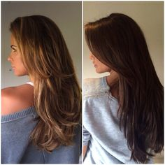 """My hair makeover on @officialkatieprice who has decided to go back to the dark side!! I used a warm brunette colour and @beauty_worksonline 24"""" Celebrity Choice hair extensions in colours Raven and Brazilia, loving Kate's hair longer too #CelebrityHair #Makeover #KatiePrice #BeautyWorks #CelebrityChoice #Brunette #Weave #Extensions #LongHair #DarkHair #BlowDry #HairBySeaane"""