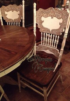 For the Home Table and Chairs painted Distressed Shabby chic Sectional sofa Article Body: Decorating Kitchen Chair Makeover, Diy Dining Room Table, Painted Kitchen Tables, Kitchen Table Makeover, Shabby Chic Table And Chairs, Furniture Makeover, Diy Furniture, Chalk Paint Chairs, Painted Chairs