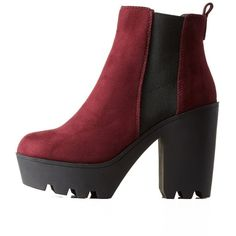 Charlotte Russe Wine Lug Sole Platform Chelsea Booties by Charlotte... ($46) ❤ liked on Polyvore featuring shoes, boots, ankle booties, wine, platform booties, platform ankle boots, chelsea boots, platform bootie and beatle boots