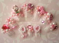 , Japanese Nail Art- Kawaii Rose Gyaru Nails Reusable Artificial Press On Nails- Kawaii Hime Gyaryu Cosplay , Japanese Nail Art- Kawaii Rose Princess Nails Reusable Artificial Press On Nails. Bling Nails, 3d Nails, Cute Nails, Pretty Nails, Stiletto Nail Art, 3d Nail Art, Kawaii Nail Art, Wedding Manicure, Nail Wedding