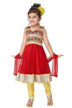 Red & Yellow Anarkali Set with yellow color churidar and matching net dupatta.  Item code: KDEW134GR http://www.bharatplaza.com/new-arrivals/kids-wear.html
