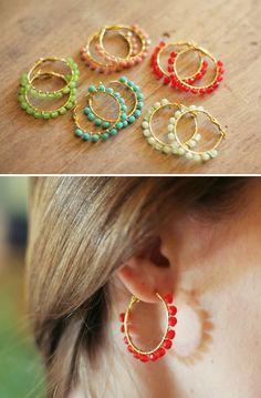 Green Apple Beaded Hoop Earrings. $15.00, via Etsy.