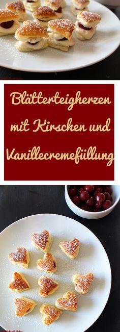 Blätterteigherzen mit Puddingfüllung - CandBwithAndrea - www.candbwithandrea.com - Collage