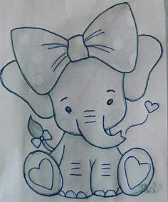 Little Toy Elephant pattern. Photos of the finished elephant is xoxograndma. Pencil Art Drawings, Art Drawings Sketches, Disney Drawings, Easy Drawings, Drawing Drawing, Drawing Ideas, Applique Patterns, Quilt Patterns, Fabric Painting