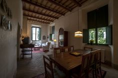 Dining room, sitting-room. Depandance, Casa Telesforo, 8 people #historicresidence #villacentofinestre #destinazionemarche   www.villacentofinestre.com