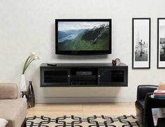 flat screen tv and fireplace in living room ideas | Wall Mount Tv Cabinets, Euro Style Flat Panel Tv Install With Wall ...