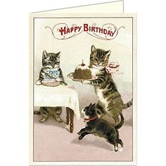 Cavallini Happy Birthday Cats Card. Cute cats and cake. What more could you need?