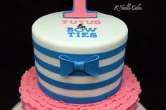 Tutus & Bow ties. Twins 1st birthday cake by K Noelle Cakes