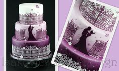 wedding in lilac cake edible lace fence, hombre airbrush paint, lilac cake  IsakovicsCakes