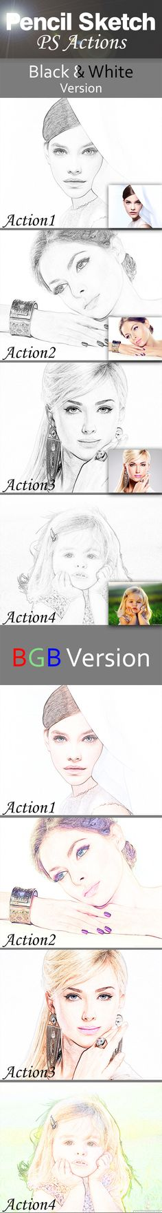 Pencil Sketch Actions #photoeffect #action Download: http://graphicriver.net/item/pencil-sketch-actions/10365691?ref=ksioks