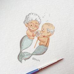 Ideas Drawing Mermaid Fantasy Illustrations For 2019 Mermaid Drawings, Mermaid Art, Art Drawings, Mermaid Sketch, Mermaid Paintings, Tattoo Mermaid, Vintage Mermaid, Mermaid Tails, Couple Drawings