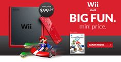 Wii Mini: Includes Mario Kart Wii and a red Wii Remote and Nunchuck, $99.99