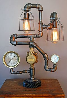 Steampunk Gear Lamp Light Industrial Art Machine Age Salvage Steam Gauge | eBay