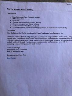 Not Yo Mama's Banana Pudding (Paula Deen) - Simple easy deserts - Banana Pudding Banana Pudding Ingredients, Banana Pudding Recipes, Chocolate Bread Pudding, Pudding Cake, Cake Chocolate, Paula Deen Banana Pudding Recipe Video, Parmesan Crusted Tilapia, Grape Salad, Dog Food Recipes