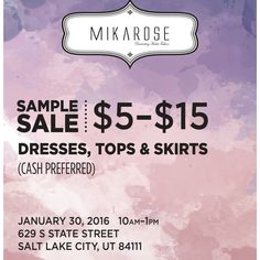 Salt Lake City we are coming for you! Our Sample Sale is this Saturday. Here are all the details.  Tag all your friends, you do not want to miss this!! #thisisnotadrill #samplesale #saltlakecity #utah