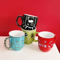 sharpie mugs - grab a mug draw your design or doodle and bake it in the oven at 350 degrees for half an hour letting it cool in the oven.You can use sharpies or sharpie paint markers.
