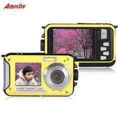 Amkov Dual LCD 2.7 HD 24MP 16X Digital Zoom 1080P 30FPS Waterproof Anti-shake Selfie Digital Camera Camcorder