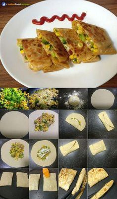 Cheesy corn broccoli pocket recipe step by step. Cheesy corn broccoli pocket is a very quick, healthy and full of nutrients recipe. It is a plate full of nutrients that too very delicious. You can serve it anytime either in breakfast, lunch or dinner. Veg Recipes, Baby Food Recipes, Indian Food Recipes, Cooking Recipes, Healthy Recipes, Lunch Box Recipes, Indian Snacks, Indian Recipes For Kids, Indian Appetizers