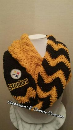 Crocheted steelers infinty scarf