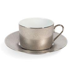 Teetasse mit Untertasse SERPENT SAUVAGE  aus Porzellan, silbern    - Im 6er-Set angeboten