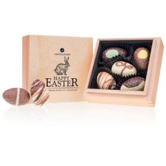 A classic wooden box made of light wood contains 5 handmade Easter Eggs chocolates of the best quality. Chocolate Brands, Wooden Boxes, Happy Easter, Easter Eggs, Packaging, Journey, Mini, Classic, Handmade